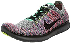 Nike Mens Free Rn Flyknit Running Shoe Whiteblack-total Crimson-blue Lagoon 9.5