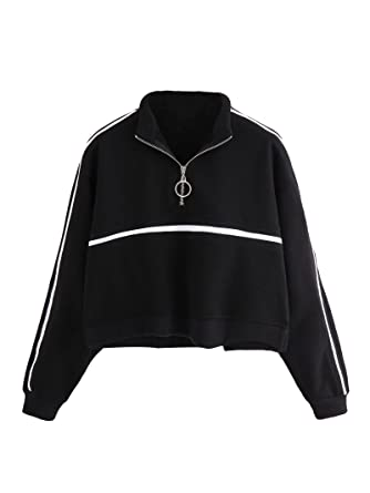 7470b9b2bb8 ROMWE Women s Zip Front High Neck Tape Striped Detail Crop Sweatshirt Black  S
