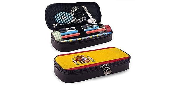 Estuche de lápices de cuero de la bandera de España Bolso cosmético de gran capacidad Bolso de bolígrafo: Amazon.es: Oficina y papelería