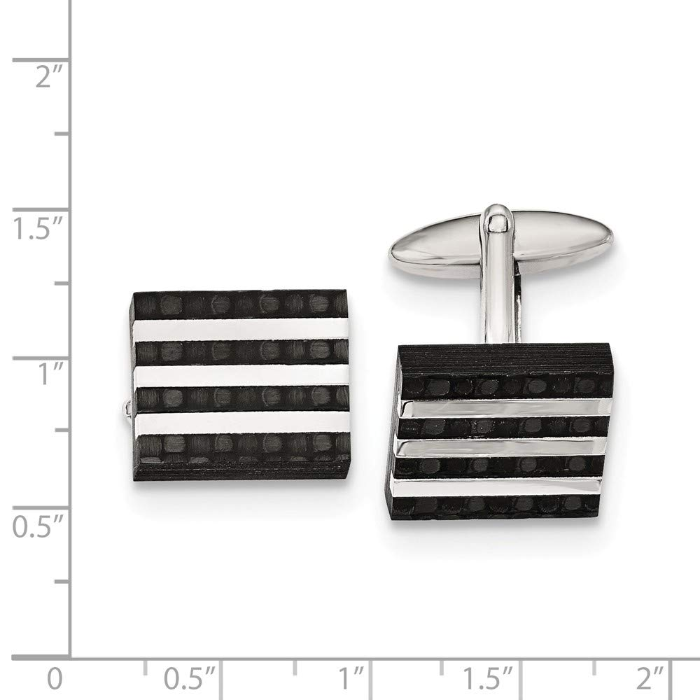 FB Jewels Solid Stainless Steel Polished And Brushed Solid Carbon Fiber Cuff Links