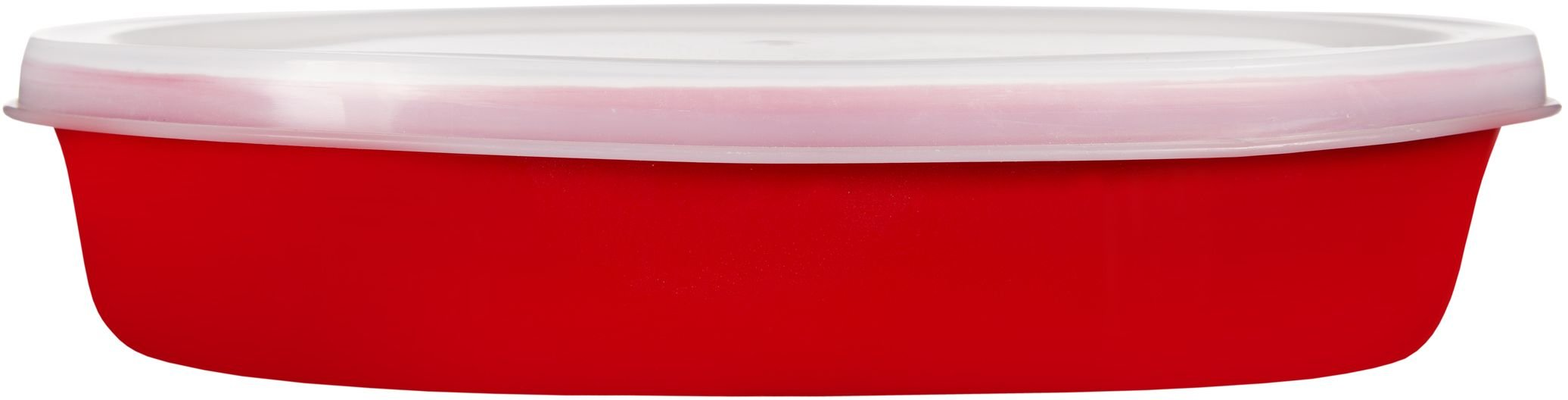 Home Essentials & Beyond Home Essentials Storage Essentials 12 oz Oval Baker with Lid, Red, Clear