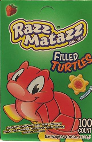 Razz Matazz Assorted Flavored Jelly Filled Gummi Turtles 100 - Turtles Gummi