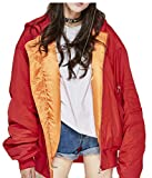 desolateness Women's Casual Loose Biker Bomber Down Jacekt Zip Up Outwear Red S