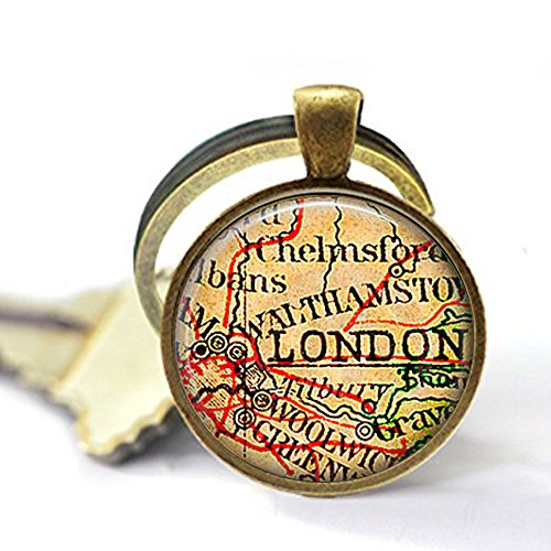 stap Vintage London Map Jewelry - London Keychain - London Souvenir - London England - British Keychain -