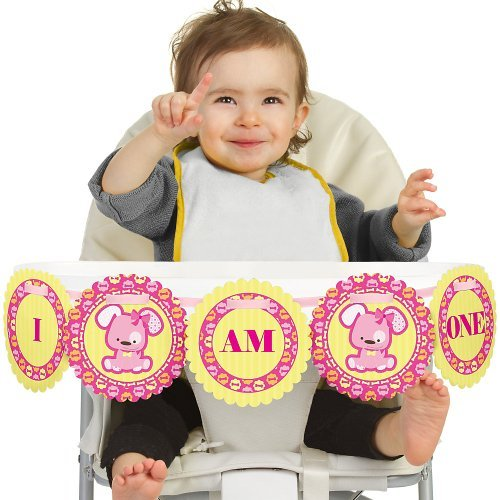 Big Dot of Happiness Girl Puppy Dog 1rst Birthday Highchair Decor - I Am One - First Birthday High Chair Banner