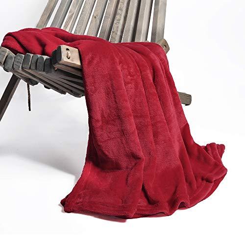 Battilo Flannel Fleece Luxury Blanket Throw 200 GSM Lightweight Cozy Plush Microfiber Solid Blanket, Red