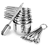 13-piece Measuring Cups and Spoons Set, 18/8 Stainless Steel Heavy Duty Good Grips with Ring Connector