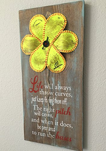 Softball Flower Sign, Life Will Always Throw Curves,