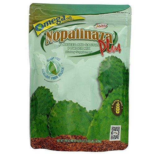 Ibitta Nopalinaza Plus Flaxseed & Cactus Powder Mix 16.58 OZ (Pack of 3) + (Vitaminder Power Shaker Bottle, 20 oz Bottle)
