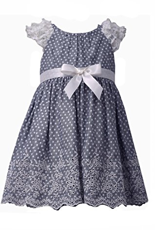 (Bonnie Baby Baby Girls' Ruffle Sleeve Chambray Border, Blue, 24 Months)