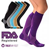 Colorful Compression Stockings for Women & Men, Knee-high Compression Socks for Nurses, Relieve Calf, Leg & Foot Pain - Graduated to Boost Circulation, Compression Tights for Nurses & Runners - S