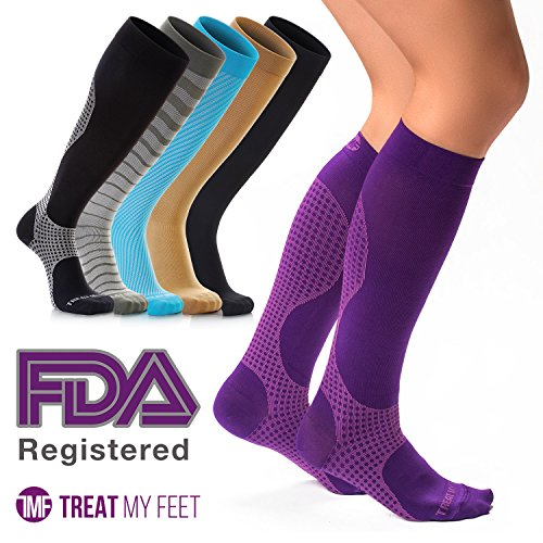 Compression Socks for Women & Men, Soft & Comfortable Knee High Compression Stockings Help Relieve Calf, Leg & Foot Pain - Boosts Circulation & Reduces Edema Swelling, Nurse & Runner Recommended - M by Treat My Feet