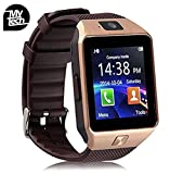 Buyee Dz09 Smartwatch Heartrate Test Bluetooth Smart Watch Wristwatch Smartwatch with Pedometer Anti-lost Camera for Iphone Samsung Huawei Android Phones (Golden)
