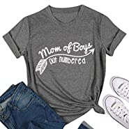 SCX Women Fashion Letter Print Short Sleeve Mom of Boys Out Numbered T-Shirt Loose Grey Tee