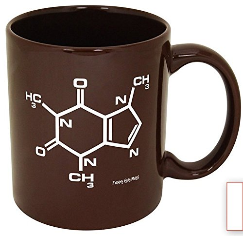 Funny Guy Mugs Caffeine Molecule Ceramic Coffee Mug, Brown, - Molecule Caffeine Mug