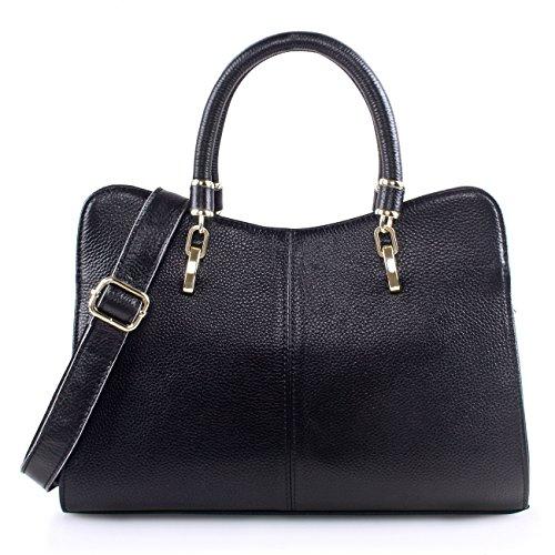 Yafeige Women Ladies Genuine Leather Tote Bag Handbag Shoulder Bag Top-handle Purse - Edging Piped