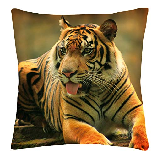 Weiweidian Tiger Pillows Decorative Throw Pillow Cover Case Tiger with Tropical Palm Tree Tigers Pillow Case 18 x 18 Inch Cotton Linen Square Cushion Cover Sofa Bedroom