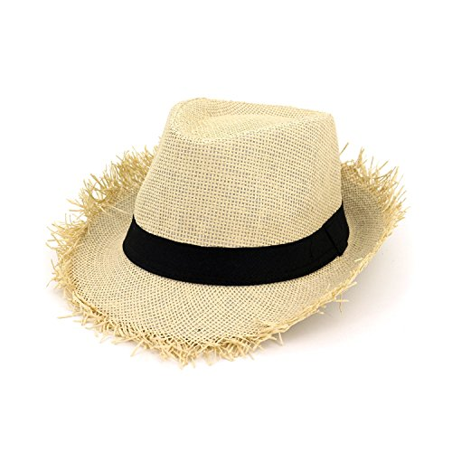 couples straw hat travel shade straw hat straw men and women Jazz Hat fringe hat,Beige,M (56-58cm) by Blue sail party-hats
