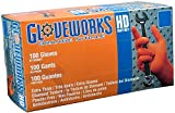 Ammex Gloveworks HD Heavy Duty Orange Nitrile Gloves, X-Large (1000 Gloves)