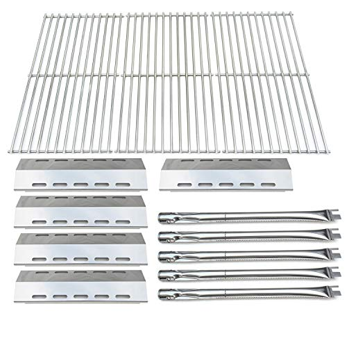 Ducane 3 Burner Stainless Steel - Direct Store Parts Kit DG210 Replacement Ducane 30400042,30400043,30558501 Gas Grill Burners,Heat Plates,Cooking Grid (SS Burner + SS Heat Plate + Solid Stainless Steel Cooking Grid)