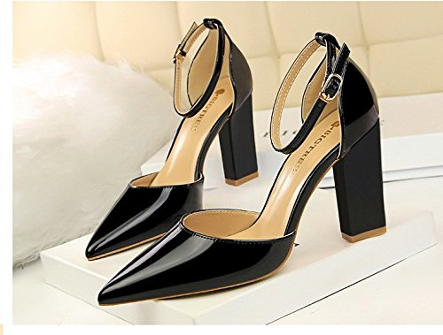 zapatos hebillas 10 superficial Black espesor De hebillas Sharp y altos XiaoGao desnuda laca SxICgqwnBv
