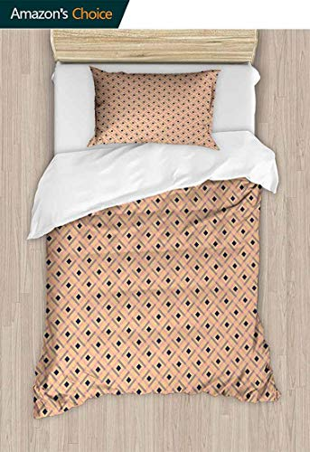Temox Argyle Cotton Bedding Sets, Diagonal Stripes and Rhombuses Geometric Composition Pastel Colors, Print Queen 1 Duvet Cover 1 Pillowcases Wrinkle Fade Resistant,71 W x 79 L Inches
