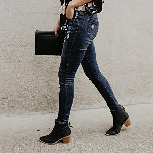 Pantalon la Denim Jeans Vintage SANFASHION Taille Trou Haute Noir Cheville Stretch Femme ZqUHI