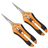 VIVOSUN Gardening Hand Pruner Pruning Shear with Straight Stailess Steel Blades (2Pack Orange)