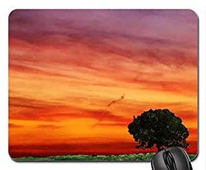 lone tree under orange sky Mouse Pad, Mousepad (Sky Mouse Pad, Watercolor style) by runtopwell
