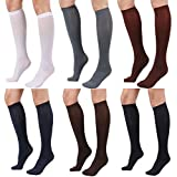 Women's Semi Opaque Knee High Trouser Sock 3pair / 6pair (One Size : XS to M, 6PAIR - Black/Darknavy/Darkgray/Brown/Maroon/White)
