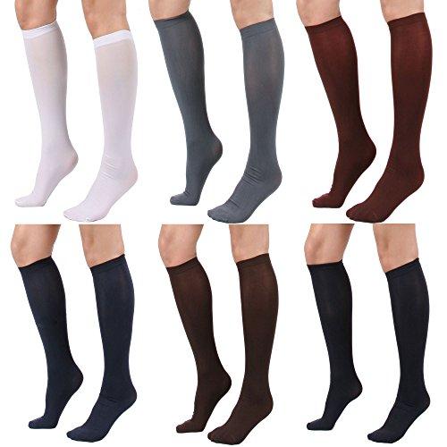 Women's Semi Opaque Knee High Trouser Sock 3pair / 6pair (One Size : XS to M, 6PAIR - Black/Darknavy/Darkgray/Brown/Maroon/White) ()