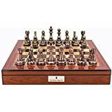 "Dal Rossi Italy Copper and Bronze Chess Set on Walnut Shiny Finish Chess Box 20"" with compartments #L2053DR"
