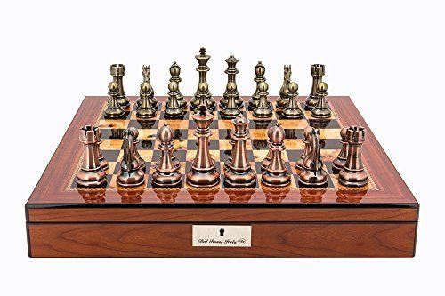 """L2053DR Dal Rossi Italy Copper and Bronze Chess Set on Walnut Shiny Finish Chess Box 20"""" with compartments"""