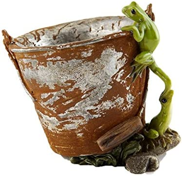 Top Collection Miniature Garden Frog Statues Frogs on Rustic Pail Succulent Flower Pot