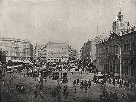 Madrid. La Puerta Del Sol. España Old Vintage envejecido – 1895 – lienzo Prints de España: Amazon.es: Hogar