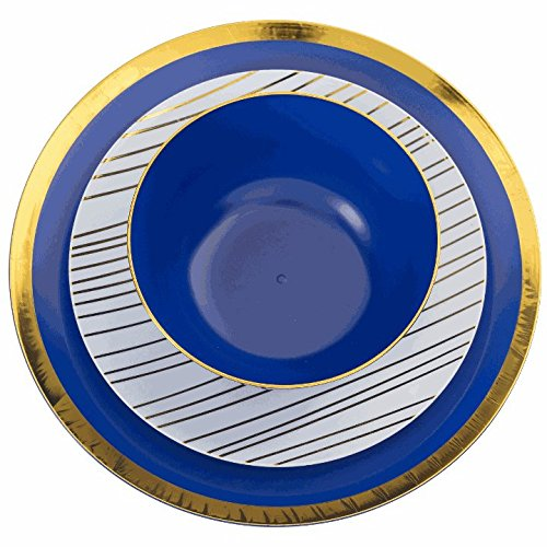 Trendables 60 - Pack Combo Premium Disposable Plastic Plates, Food Grade Plastic Dinner Plates - Glam Design Includes: 20 x 10.25