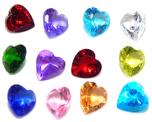 Pro Jewelry 1 Pack of 12 Assorted Mix Heart Birthstone Crystal 5mm for Floating Charm Lockets 002 by Pro Jewelry