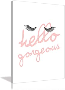 Fashion Woman Wall Decor Pink Wall Art Girls Painting Beautiful Girls Canves Eyelash Prints Picture Pink Poster Artwork Home Decor for Living Room Bedroom Framed Ready to Hang