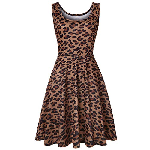 WOCACHI Dresses for Womens, Women Sleeveless Leopard Print Summer Beach A Line Casual Dress Party Dress Sundress Pocket Apron Tunic Plain Boat Neck Corduroy Pinafore Bib Button Cocktail