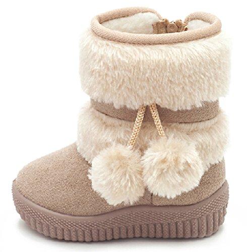 DADAWEN Little Girl's Bany Flat Pom Pom Ankle Boot Beige US Size 9 M Toddler(Toddler/Little Kid/Big Kid)