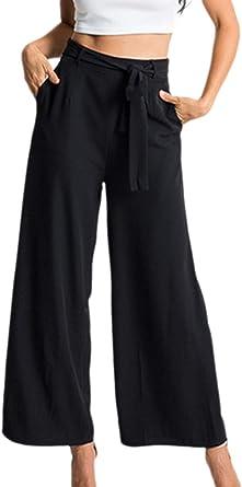 Pantalones Anchos Para Mujer Pantalones Palazzo De Cintura Alta Elegantes Pantalones Culottes Falda Festivo Moda 2019 Ropa De Mujer Amazon Es Ropa Y Accesorios
