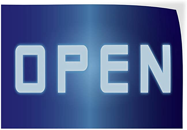 Set of 2 Decal Sticker Multiple Sizes Open #1 Style K Business Open Outdoor Store Sign Blue 52inx34in