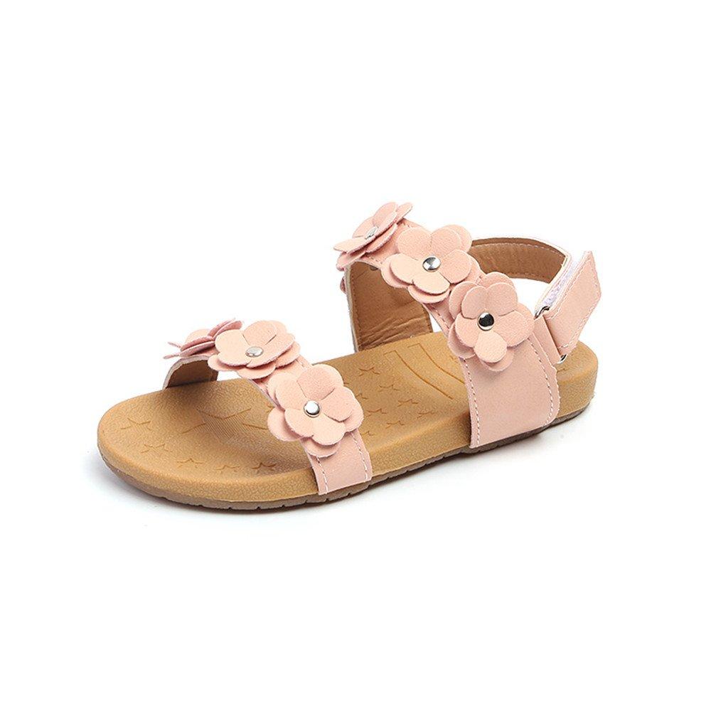 COMFY KIDS Girls' Open Toe Strap Sandals Summer Fashion Flat Flower Sandals Outdoor Sport Sandals Princess Flats Sandals