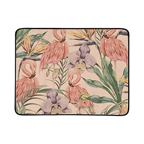 ZXWXNLA Vintage Flamingo with Flowers and Leaves Pattern Portable and Foldable Blanket Mat 60x78 Inch Handy Mat for Camping Picnic Beach Indoor Outdoor Travel