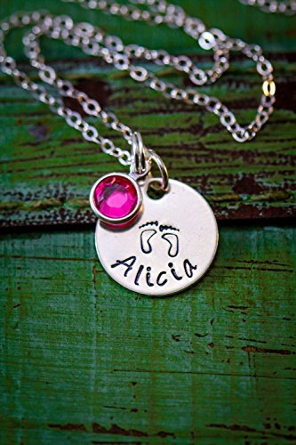 New Mom Baby Feet Necklace – ROI – 5/8 Inch 15.8MM Disc - Handstamped Sterling Silver Jewelry – Choose a Chain Length - Custom Birthstone Color – Personalized Name – Fast 1 Day Shipping