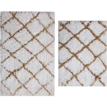 Capel Damask Rug (better homes and gardens 2-piece microfiber shag bath rug set (Butter Pecan & Ivory))