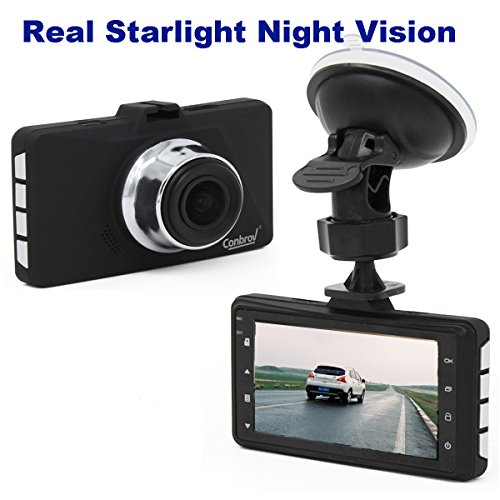 Conbrov Real Starlight Night vision Dash Cam 1080p Car Video Camera Vehicle Dashboard Recorder