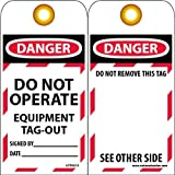 "NMC LOTAG13 Lockout Tag, ""DANGER - DO NOT OPERATE - EQUIPMENT TAG-OUT,"" 6"" Height x 3"" Width, Unrippable Vinyl, Red/Black on White (Pack of 10)"