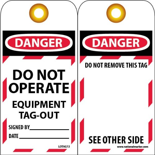 Lockout Tags Standard (NMC LOTAG13 Lockout Tag,