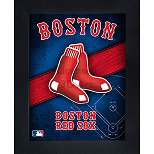 Boston Red Sox 3D Poster Wall Art Decor Framed Print | 14.5x18.5 | Lenticular Posters & Pictures | Memorabilia Gifts for Guys & Girls Bedroom | MLB Baseball Sports Team Fan Poster for Man Cave - Framed Sports Poster